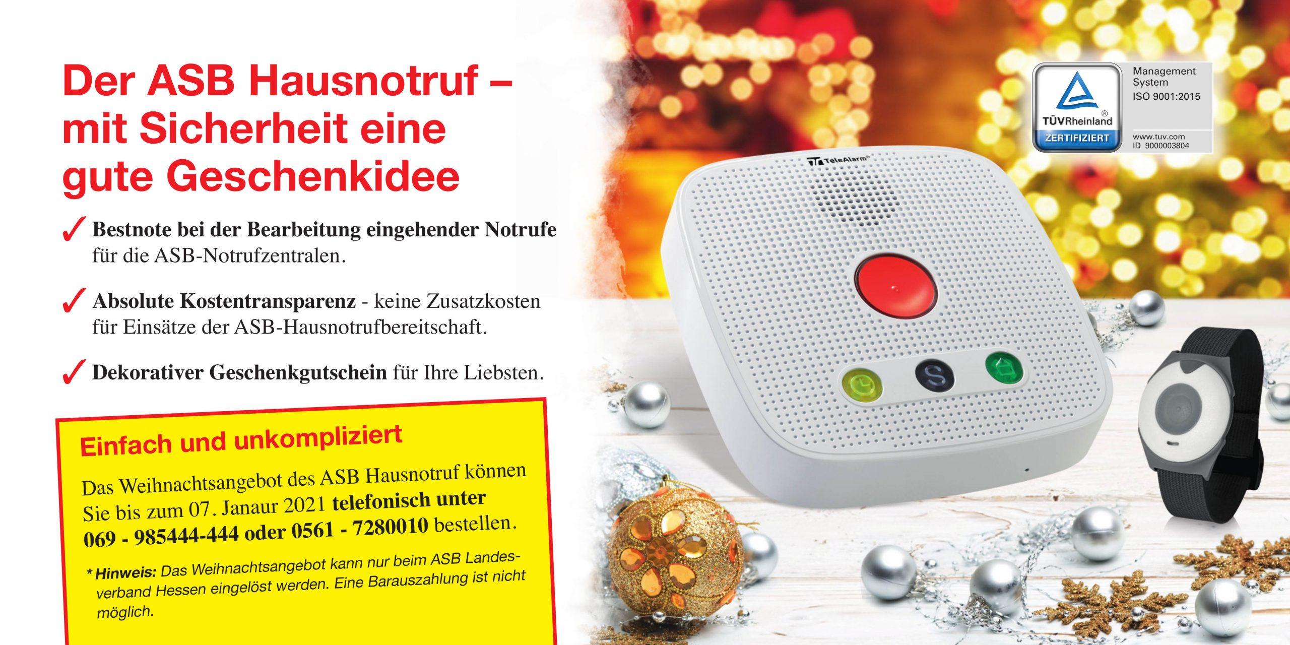 Weihnachtsaktion 2020 Flyer - ASB Hausnotruf - Notrufsystem für zu Hause und mobiler Notruf
